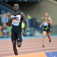 Pulling away: Kenya's David Rudisha heads for the finish line in the 800 meters on Saturday at the Diamond League meet in Glasgow. Rudisha won in a time of 1 minute, 43.34 seconds. | AFP-JIJI
