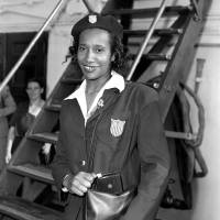 Historic achievement: American Alice Coachman, seen here in New York after returning from the 1948 London Games, became the first black woman to win an Olympic gold medal when she captured the high jump. | AP
