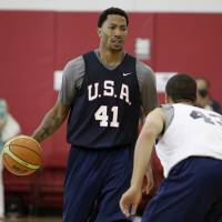 Feeling good: Chicago Bulls guard Derrick Rose, who has missed most of the past two seasons, handles the ball during a Team USA scrimmage at a training camp on Monday in Las Vegas. | AP