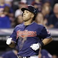 Nice and easy: Indians slugger Michael Brantley trots home after his home run against Masahiro Tanaka. | AP