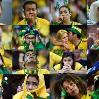 Didn't see this coming: Brazilian fans react in a combination of photos taken during the nation's loss to Germany in the semifinals of the World Cup on Tuesday in Belo Horizonte, Brazil. | AFP-JIJI