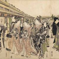 Money talks: A woodblock print by Utagawa Toyokuni I shows courtesans promenading in Yoshiwara, old Edo's pleasure district.
