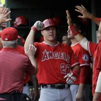 Amazing grace: Angels outfielder Mike Trout celebrates after his solo homer on Friday. | AP