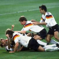 Pure efficiency: West Germany (above) beat Argentina in the 1990 World Cup final and Thomas Mueller will hope to guide Germany to a similar result this year. | AP