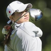 Off and running: Sakura Yokomine tees off during the second round of the LPGA International Crown on Friday. | AFP-JIJI