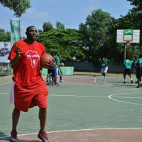 In his element: Dzaflo Larkai talks to SpriteBall Basketball Clinic participants last weekend at the Aviation Social Centre in Accra, Ghana.  | NBA AFRICA
