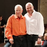 Peter Brook and his son, Simon, whose documentary, 'The Tightrope,' will soon be released nationwide.