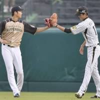 Mutual respect: Pacific League starting pitcher Shohei Otani (left) touches gloves with Central League counterpart Shintaro Fujinami ahead of Game 2 of the NPB All-Star Series at Koshien Stadium on Saturday. | KYODO