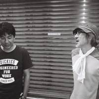 Lucky gods of pink: Yuji Tajiri (left) and Shinji Imaoka — seen here standing near K's Cinema in Shinjuku — are two legendary directors of pink films, now experimenting with new ways of adapting the genre, or moving beyond its limits. | © MIRI MATSUFUJI