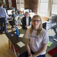 Jesse Powell, Chief Executive Officer of Kraken Bitcoin Exchange, sits at the company's office in San Francisco on Aug. 8. | BLOOMBERG