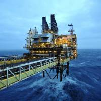The Eastern Trough Area Project oil platform operated by BP PLC stands in the North Sea on Feb. 24. | AFP-JIJI