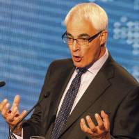 Britain's former treasury chief and leader of the pro-Union Better Together campaign, Alistair Darling, participates in a televised debate Tuesday with Scotland's first minister, Alex Salmond (not in shot), ahead of the referendum on Scottish independence, in Glasgow. | AP