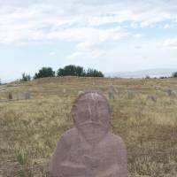 A Scythian carving still stands near the tower of Burana in Kyrgyzstan. | PAUL MUNHOVEN