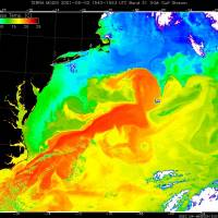 This false-color satellite image of water temperatures taken in May 2001 shows the Gulf Stream in orange, flowing to the northeast off the United States' eastern seaboard. Temperatures are shown in a color range, with the coldest purple and the hottest red. Black represents land or a lack of data. | IMAGES COURTESY LIAM GUMLEY, MODIS ATMOSPHERE TEAM, UNIVERSITY OF WISCONSIN-MADISON