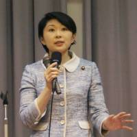 Yuko Obuchi, a Lower House representative from the Liberal Democratic Party, stumps for an LDP by-election candidate in Kagoshima on April 23. | KYODO