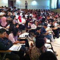 Students from the University of Indonesia attend a job seminar for a Japanese firm organized by Fourth Valley Concierge Corp. in this undated photo.  | FOURTH VALLEY CONCIERGE CORP.