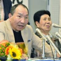 Iwao Hakamada (left), who was released in March after spending more than 40 years on death row, speaks at a press conference in his hometown of Hamamatsu, Shizuoka Prefecture, on May 27, as his sister Hideko looks on. | KYODO