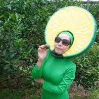 Lady Hebe, a character promoting the 'hebesu' citrus fruit for the city of Hyuga, Miyazaki Prefecture, poses for a photo in a local orchard July 19. | KYODO