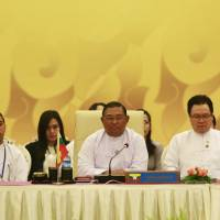 Myanmar Foreign Minister Wunna Maung Lwin (center) attends the Southeast Asian Nuclear Weapon-Free Zone session during an ASEAN foreign ministers' meeting, at the Myanmar International Convention Center in Naypyitaw on Friday. | REUTERS