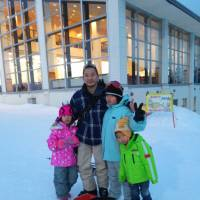 Hiroki Yoshida, a single father based in Konosu, Saitama Prefecture, poses with his three children, Chitose, Soju and Shiryo (left to right), during a ski trip to Gunma Prefecture in January. COURTESY OF HIROKI YOSHIDA