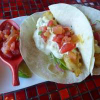 Fried (Baja California style)  fish tacos at Haciendo del Cielo.  | REBECCA MILNER