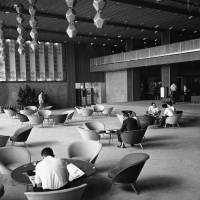 Sad goodbyes: The Hotel Okura lobby in its modern glory two years after the hotel was built in 1962. | AP