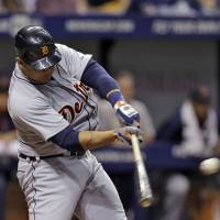 Uncaged: Tigers slugger Miguel Cabrera drives in a run with a single during an 8-6 win over Rays on Tuesday. | AP