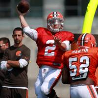 On another level: Browns quarterback Johnny Manziel has had ups and downs early in his first NFL training camp. | AP