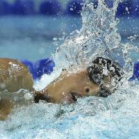 Silver lining: Kosuke Hagino competes in the men's 400-meter freestyle final at the Pan Pacific Championships in Gold Coast, Australia, on Saturday. | AP