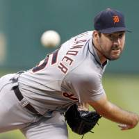 Hammered: Detroit's Justin Verlander gave up five runs in one inning against Pittsburgh on Monday night in a loss. | AP