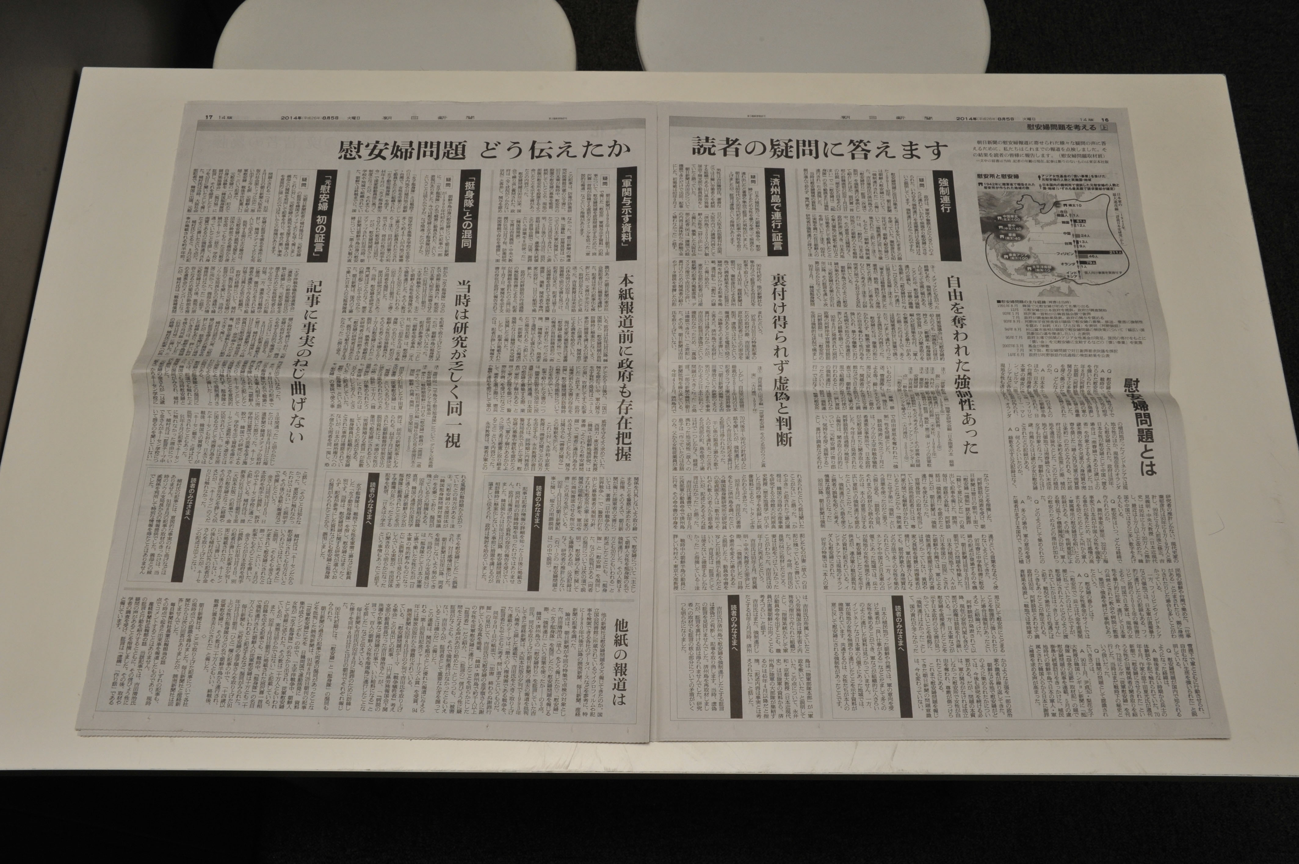 Revisiting the past: The Asahi Shimbun published a two-page spread on Aug. 5 that included an explanation of erroneous reporting it published on the topic of the so-called comfort women in the 1980s and '90s. | YOSHIAKI MIURA