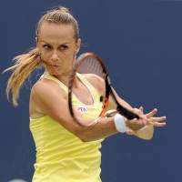 Straight and true: Magdalena Rybarikova hits a shot during her 6-2, 6-4 semifinal win over Camila Giorgi at the Cincinnati Open on Friday. | AP