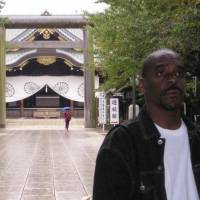 Confronting reality: Baye McNeil visits Yasukuni Shrine in Tokyo shortly after his arrival in 2004.   COURTESY OF BAYE MCNEIL