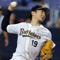 Impressive outing: Buffaloes right-hander Chihiro Kaneko strikes out nine batters without allowing a walk in eight innings on Friday against the rival Hawks. Orix defeated Fukuoka Softbank 8-1.  | KYODO