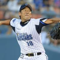 Impressive stretch: BayStars starter Daisuke Miura has yielded two earned runs in his last 36 innings. Miura led Yokohama to a 3-0 win over the visiting Hiroshima Carp on Thursday. | KYODO