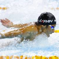 Thursday's best: Daiya Seto swims en route to a gold medal in the men's 200-meter butterfly race at the Pan Pacific Championships. KYODO | KYODO