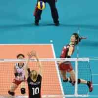 Precision and power: Japan's Saori Kimura prepares to spike the ball against Belgium during Saturday's FIVB World Grand Prix Finals match at Ariake Colosseum. Japan defeated Belgium 26-24, 25-16, 25-15. | FIVB