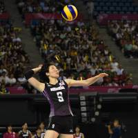 Ready or not: Mizuho Ishida serves the ball against Turkey on Thursday. | FIVB