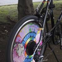 Spinning out: The 'ANIPOVmini' wheel by Suns & Moon Laboratory displays animation as you ride.