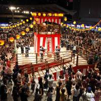 Street dance: Locals and visitors join in the Roppongi Hills Bon Odori celebrations.