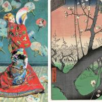 Left: Claude Monet's 'La Japonaise (Camille Monet in Japanese Costume)' (1876); Right: Utagawa Hiroshige's 'Plum Estate, Kameido' from the series 'One Hundred Famous Views of Edo'  |  1951 PURCHASE FUND 56.147, © 2014 MUSEUM OF FINE ARTS,BOSTON;  BEQUEST OF JOHN T. SPAULDING 48.548, © 2014 MUSEUM OF FINE ARTS, BOSTON