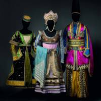"Left: Majestic design: Costumes for a friend of Queen Thamar, Queen Thamar and a Lezghin, designed by Leon Bakst for the Ballets Russes' production of ""Thamar"" (ca. 1912). Right: Tunic for the Blue God designed by Leon Bakst for the Ballets Russes' production of ""Le Dieu Bleu"" (""The Blue God,"" ca. 1912).  