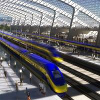 An artist's rendering from February 2011 for the California High-Speed Rail Authority shows an envisioned high-speed rail station in San Jose, California. | BLOOMBERG