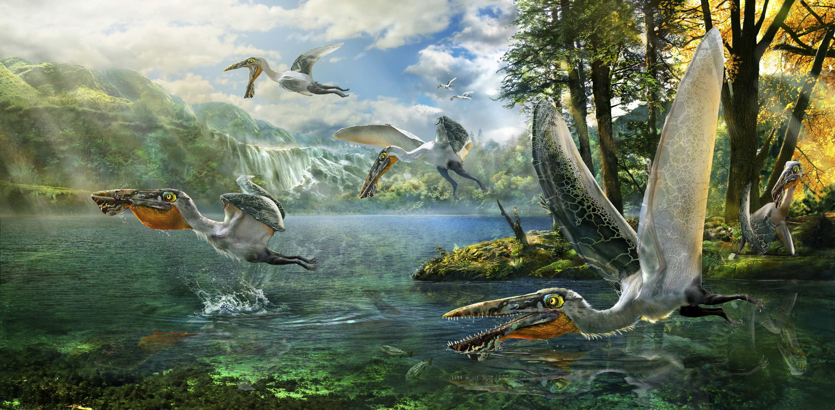This illustration courtesy of Chuang Zhao shows Ikrandraco avatars in their native habitat. | REUTERS