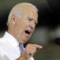Vice President Joe Biden speaks about the killing of Steven Sotloff while visiting the Portsmouth Naval Shipyard in Kittery, Miane, on Wednesday. Biden said America will follow the terrorists who posted videos showing the beheading of two journalists 'to the gates of hell.' | AP