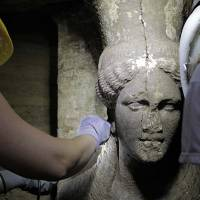 Two sculpted female figures unearthed in Greek excavation site