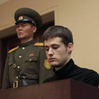 U.S. citizen Matthew Miller sits in the dock at the Supreme Court during his trial in Pyongyang on Sept. 14.   AP