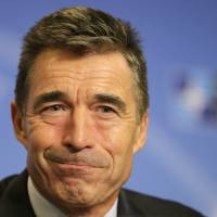 NATO Secretary General Anders Fogh Rasmussen addresses the media Monday ahead of the NATO summit in Wales, at the Residence Palace in Brussels. Russia and Ukraine will be the top story this week when NATO heads of state attend the summit  starting Wednesday. | AP