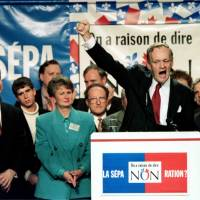 Canadian Prime Minister Jean Chretien addresses a pro-Canada 'no' rally in his hometown riding of Shawinigan, Quebec, on Oct. 6, 1995. | REUTERS