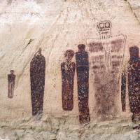 The Holy Ghost group of the Great Gallery, a striking rock painting in southern Utah's Canyonlands National Park, which was drawn 1,000 years later than what had long been believed, a team of researchers has found. | AP